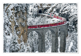 Póster Bernina Express Train, Filisur, Switzerland