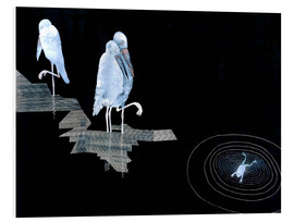 Cuadro de PVC  Three Storks and a Frog in a Pond - Jean Dunand