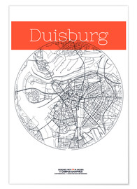 Póster  Duisburg map city black and white - campus graphics