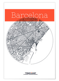 Póster  Barcelona Card City Black and White - campus graphics