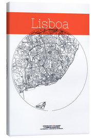 Lienzo  Lisbon map city black and white - campus graphics
