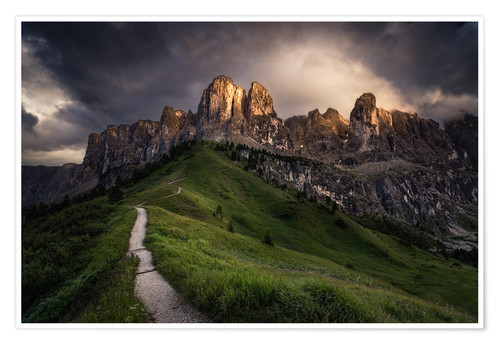 Póster Sunset at the Passo Gardena, Dolomites, Italy