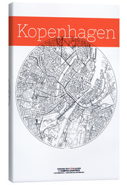 Lienzo  Mapa en blanco y negro de Copenhague - campus graphics