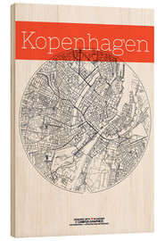 Madera  Mapa en blanco y negro de Copenhague - campus graphics