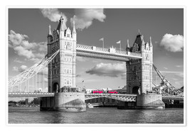 Póster London, Tower Bridge Black and White