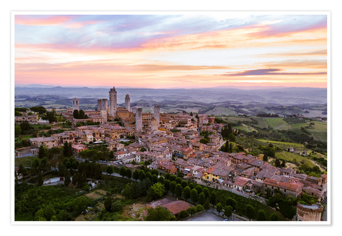 Póster Aerial drone view over San Gimignano, Tuscany, Italy