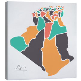 Lienzo  Algeria map modern abstract with round shapes - Ingo Menhard