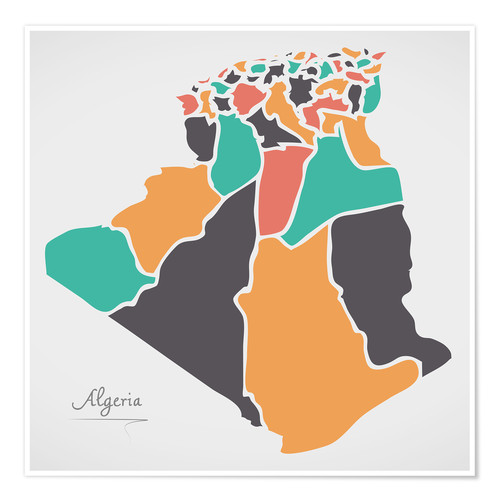 Póster Algeria map modern abstract with round shapes