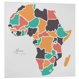 Cuadro de PVC  Africa map modern abstract with round shapes - Ingo Menhard