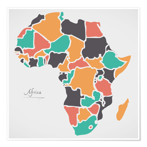 Póster Africa map modern abstract with round shapes