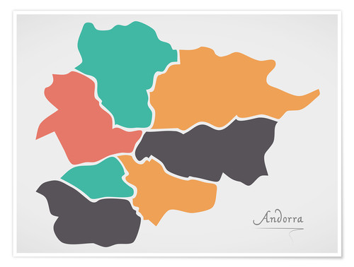 Póster Andorra map modern abstract with round shapes