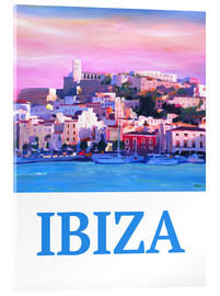 Cuadro de metacrilato  Retro Poster Ibiza Old Town and Harbour Pearl Of the Mediterranean - M. Bleichner