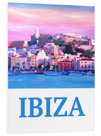 Cuadro de PVC  Retro Poster Ibiza Old Town and Harbour Pearl Of the Mediterranean - M. Bleichner