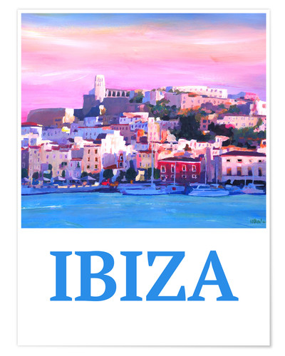 Póster Retro Poster Ibiza Old Town and Harbour Pearl Of the Mediterranean