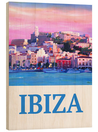 Cuadro de madera  Retro Poster Ibiza Old Town and Harbour Pearl Of the Mediterranean - M. Bleichner