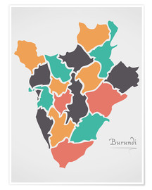 Póster Burundi map modern abstract with round shapes