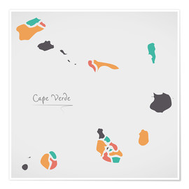 Póster Cape Verde map modern abstract with round shapes