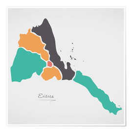 Póster Eritrea map modern abstract with round shapes