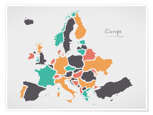 Póster Europe map modern abstract with round shapes
