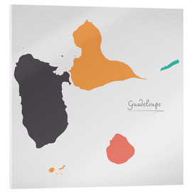 Cuadro de metacrilato  Guadeloupe map modern abstract with round shapes - Ingo Menhard
