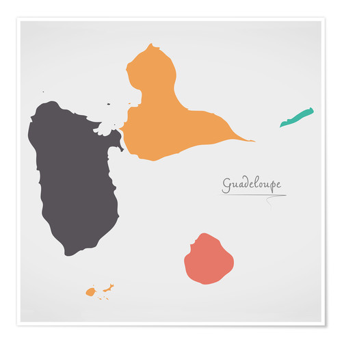 Póster Guadeloupe map modern abstract with round shapes