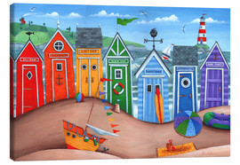 Lienzo  Beach hut rainbow scene - Peter Adderley