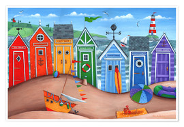 Póster  Beach hut rainbow scene - Peter Adderley