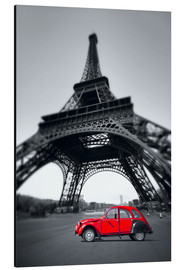 Cuadro de aluminio  Vintage red car stands on the Champ de Mars