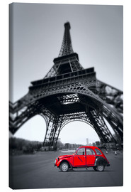 Lienzo  Vintage red car stands on the Champ de Mars