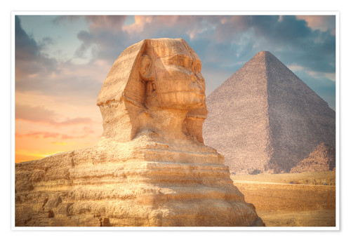 Póster Sphinx and pyramid