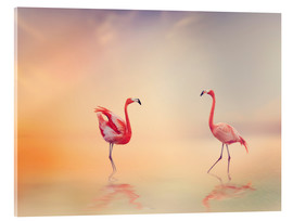 Cuadro de metacrilato  Two Flamingoes in The Lake at Sunset