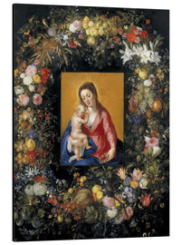 Cuadro de aluminio  Flower Garland Around the Virgin and Child - Jan Brueghel d.Ä.