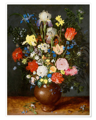 Póster Bouquet of flowers in clay vase