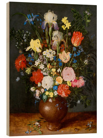 Cuadro de madera  Bouquet of flowers in clay vase - Jan Brueghel d.Ä.