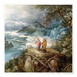 Póster Wide mountain landscape with the temptation of Christ