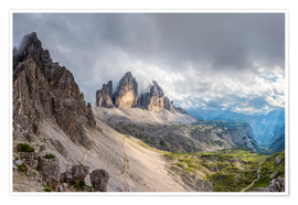 Póster  Cloud sky at Tre Cime in Dolomite Alps - Dieter Meyrl