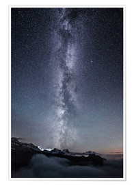 Póster Nightscape with galaxy above clouds from Legler mountain hut  Glarus, Switzerland