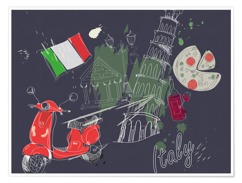 Póster Let's go to Italy!