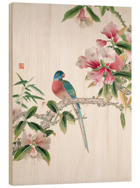 Cuadro de madera  Jay on a flowering branch - Chinese School