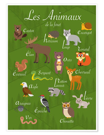 Póster  Animales del bosque - Francés - Kidz Collection