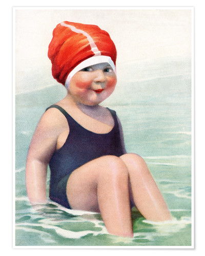 Póster Child Wearing a Swim Cap Sitting in the Surf