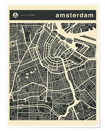 Póster  AMSTERDAM CITY MAP - Jazzberry Blue