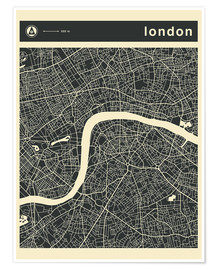 Póster  LONDON CITY MAP - Jazzberry Blue