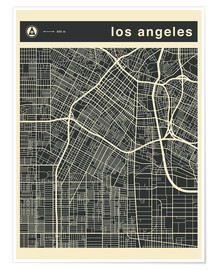 Póster  Los Angeles City map - Jazzberry Blue