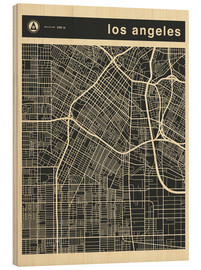 Cuadro de madera  Los Angeles City map - Jazzberry Blue