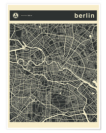 Póster  Berlin City Map - Jazzberry Blue