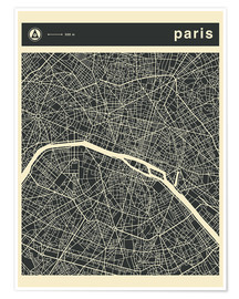 Póster  PARIS CITY MAP - Jazzberry Blue