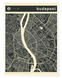 Póster  Budapest City Map - Jazzberry Blue