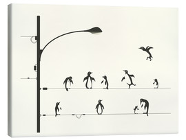 Lienzo  PENGUINS ON A WIRE - Jazzberry Blue