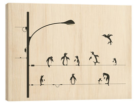 Cuadro de madera  PENGUINS ON A WIRE - Jazzberry Blue